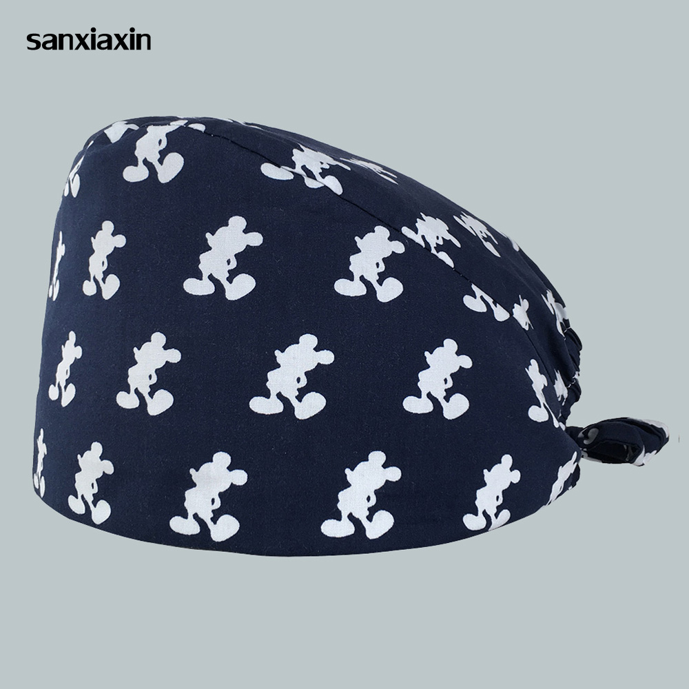 2019 Printing Medical Surgical Caps Dentistry Hats High Quality Unisex Adjustable Women&men Operating Pet Hospital Nurse Caps
