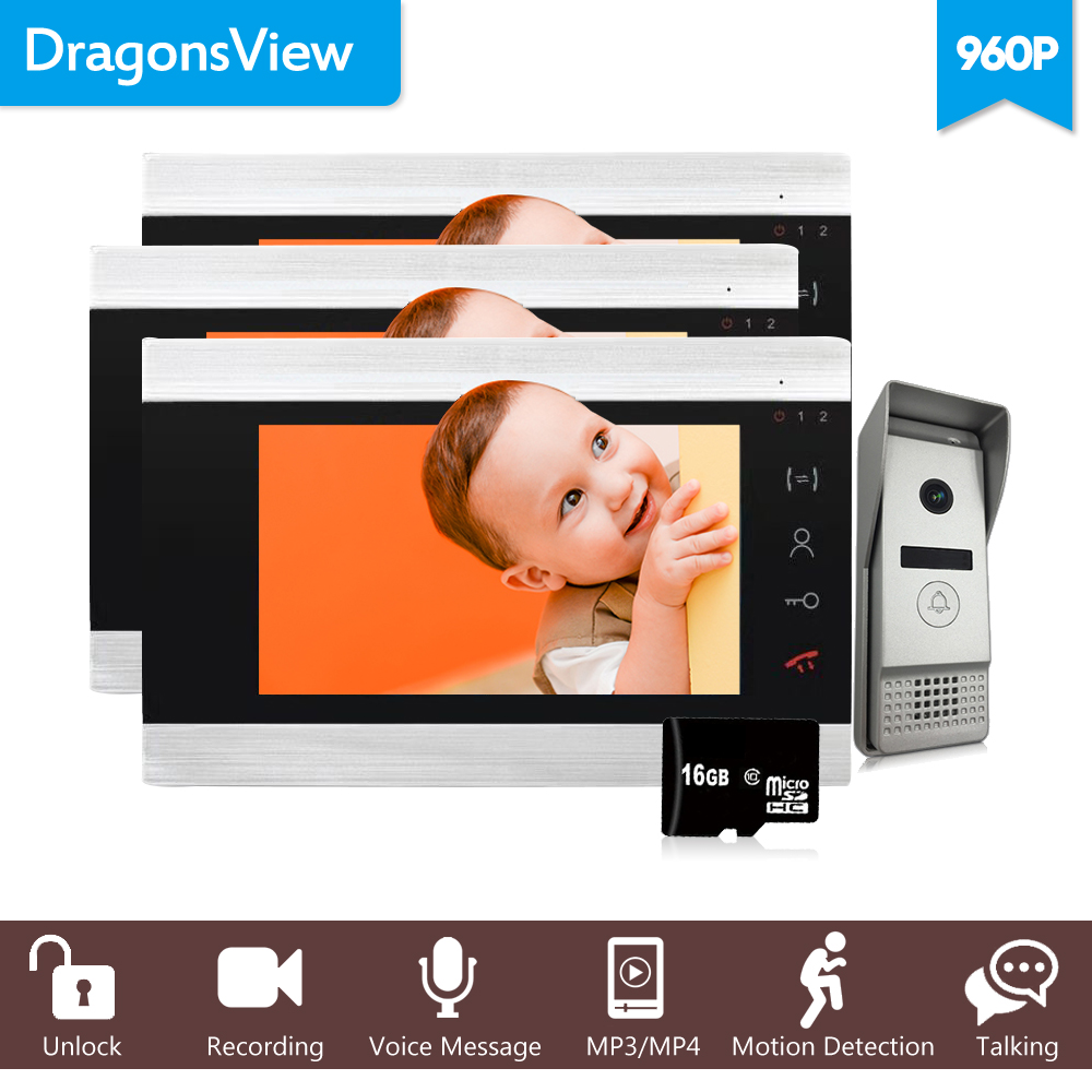 Dragonsview 960P 7 Inch  Video Doorbell Intercom System Electronic Doorman With Camera Record SD Card Unlock  3 Monitors 1 Panel