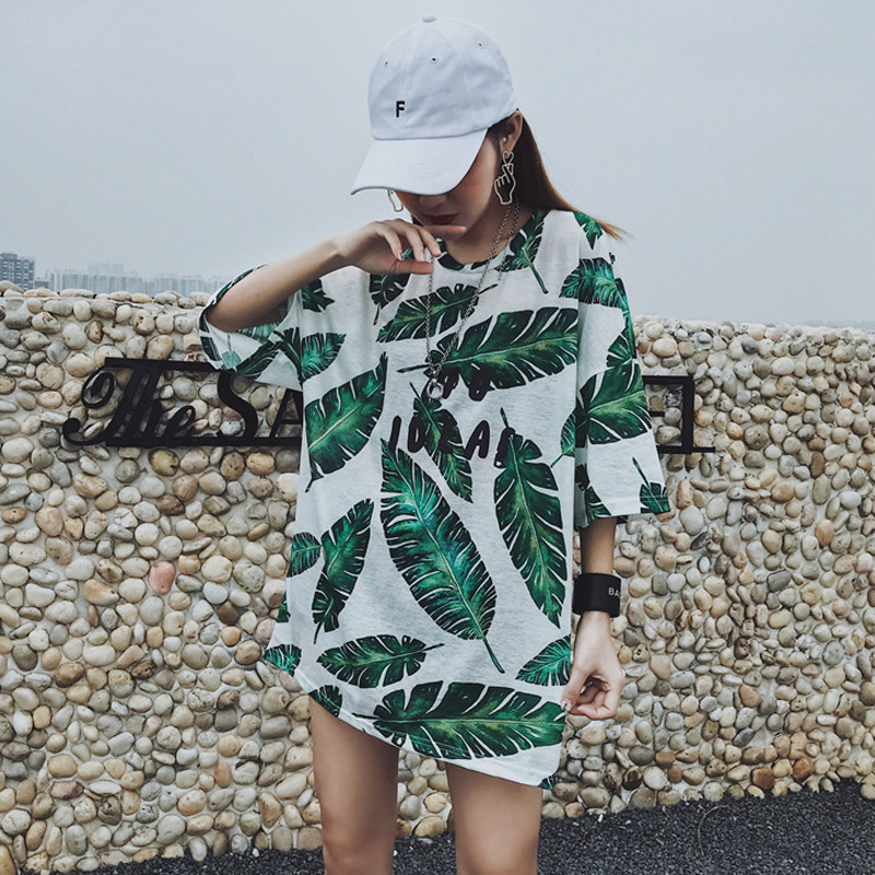Hot fashion Print T Shirt For Women Clothing 2018 Summer casual loose Female Harajuku Large size Tee tops Ladies long T-shirts ...