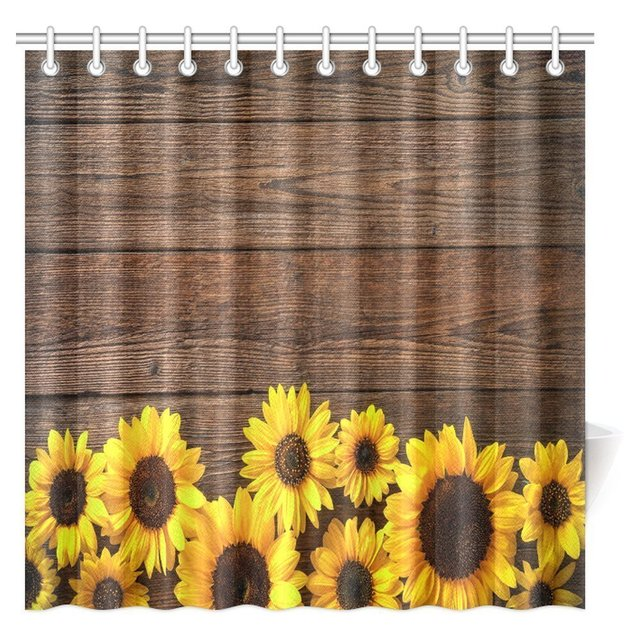 Sunflower Bath Sets Sunny Sunflowers Bathroom Set Source · Aplysia Autumn  Flower Shower Curtain Sunflowers On Rustic Wooden
