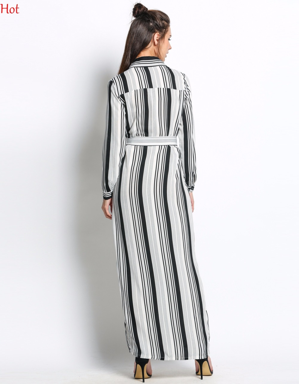 Hot Black White Striped Maxi Shirt Dress Long Sleeve Elegant Button Party  Dresses High Split Sexy Tie Waist Tunic Dress SV030085-in Dresses from  Women s ... c000ef9be