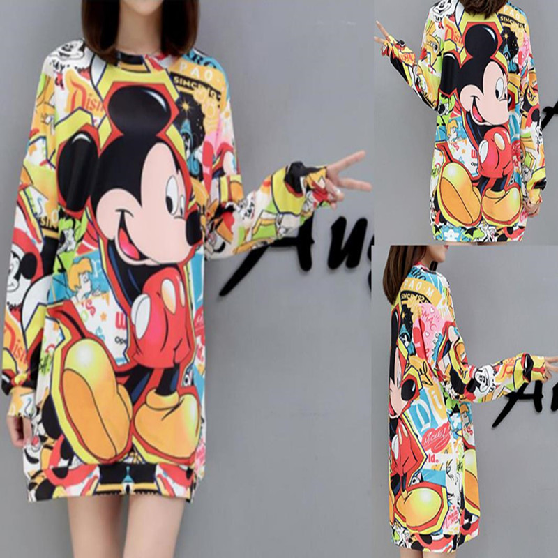 27 Colors Fashion 2019 New Autumn Winter Europe  Slim Mickey Version Printed Women Clothes Round Collar Female  Loose Shirt