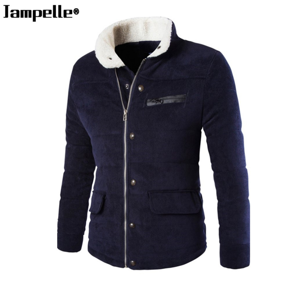 New Thicken Corduroy Jacket Men Autumn Winter Warm Coat Stand-up Collar Outwear with Pocket Zipper Male Overcoat Plus Size 3XL