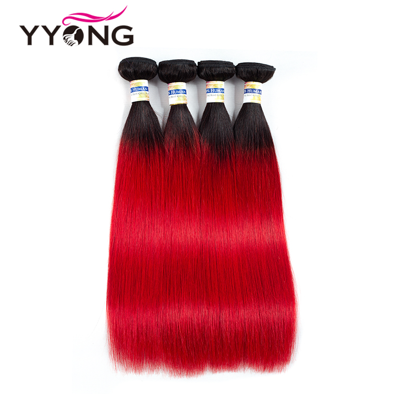 Yyong Pre-Colored Red Ombre Brazilian Human Hair Weave Bundles 4 Pcs T1B/ Red Dark Roots Straight Ombre Brazilian Hair Bundles