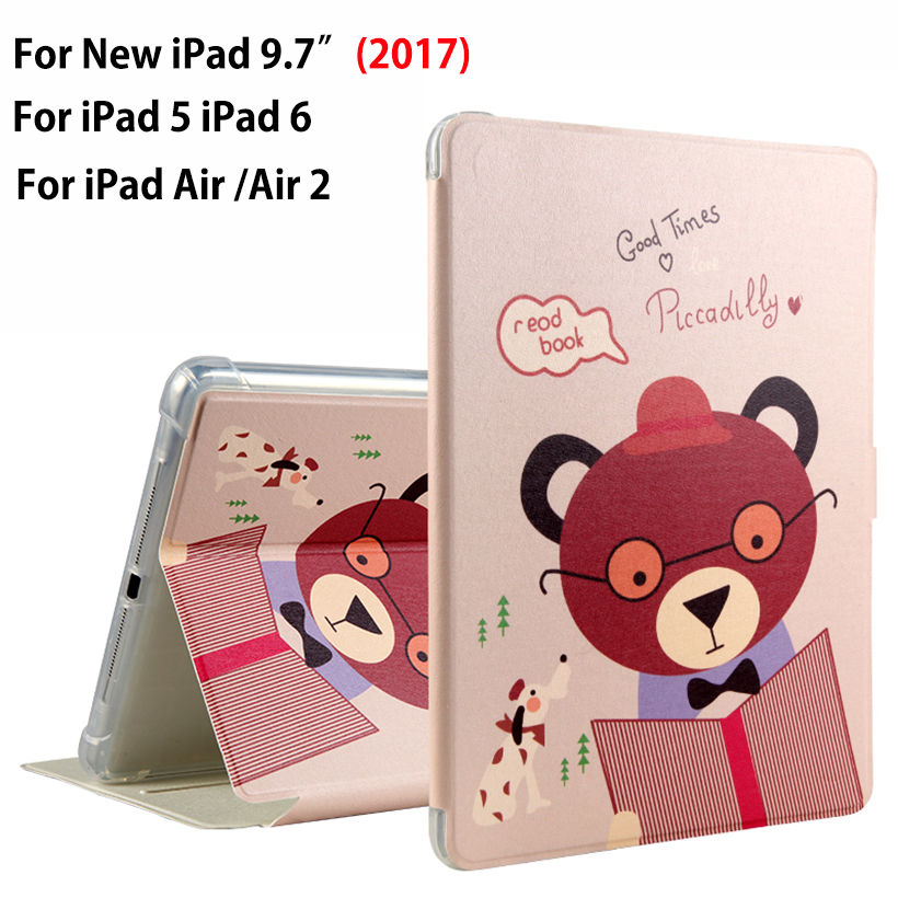 High quality Fashion painted Case Cover For Apple New iPad 9.7 2017 Funda cases For iPad Air 1 2 iPad 5 6 PU Leather Stand Shell brand new case cover for apple ipad air 2 ipad 6 2014 pu leather flip smart stand case two folding folio cases for ipad air 2