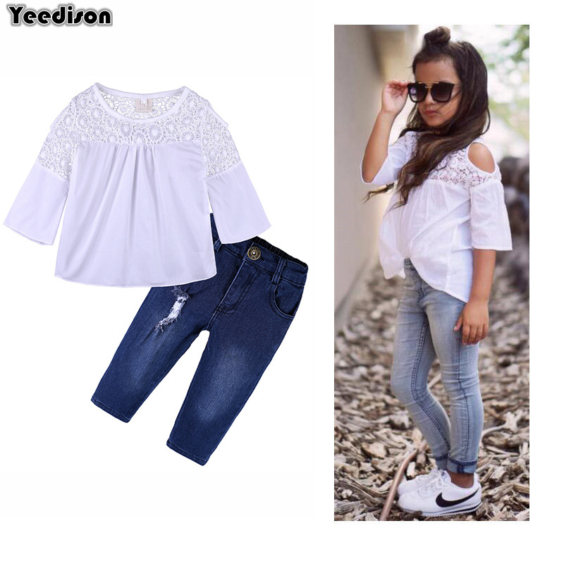 Yeedison Baby Girls Clothes Set 2018 Summer Babies Kids Outfit Off Shoulder Top Denim Pants Suits Fashion 2Pcs Children Clothing