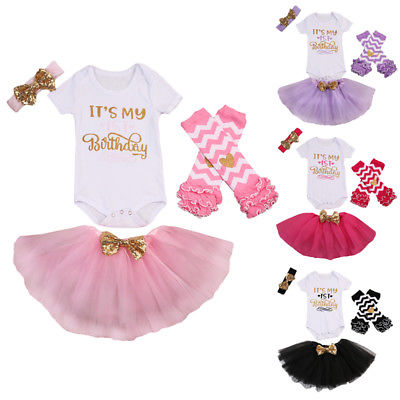 Toddler Baby Girls 1st Happy Birthday Clothes Set Outfits Cotton Sequins Romper Christening Birthday Tutu Dresses Headband 3Pcs 3pcs set cute newborn baby girl clothes 2017 worth the wait baby bodysuit romper ruffles tutu skirted shorts headband outfits