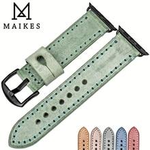 MAIKES Bracelet Vintage en cuir pour montre Apple Watch, en cuir véritable, 44mm 40mm 42mm 38mm, série 6 5 4 3 2 iWatch