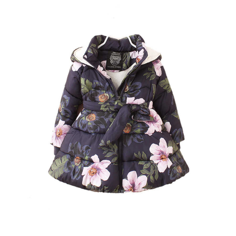 ФОТО thick baby girls parkas jacket coat floral pirnt Winter warm parkas coat for 2-8yrs girls children kids hooded outerwear clothes
