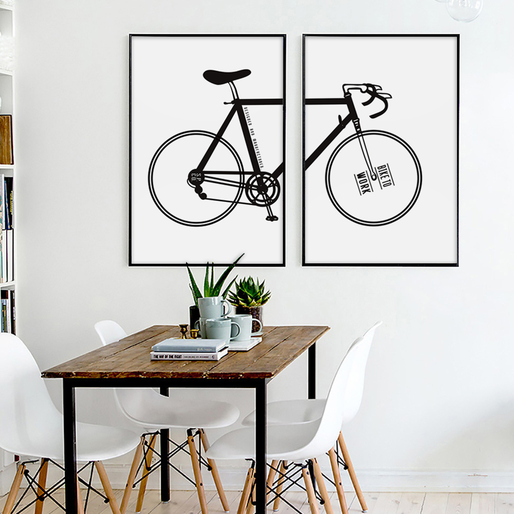 Modern Simple Bicycle Inspirational Black And White Canvas Painting Art Print Poster Wall Paintings Home Decoration Decor