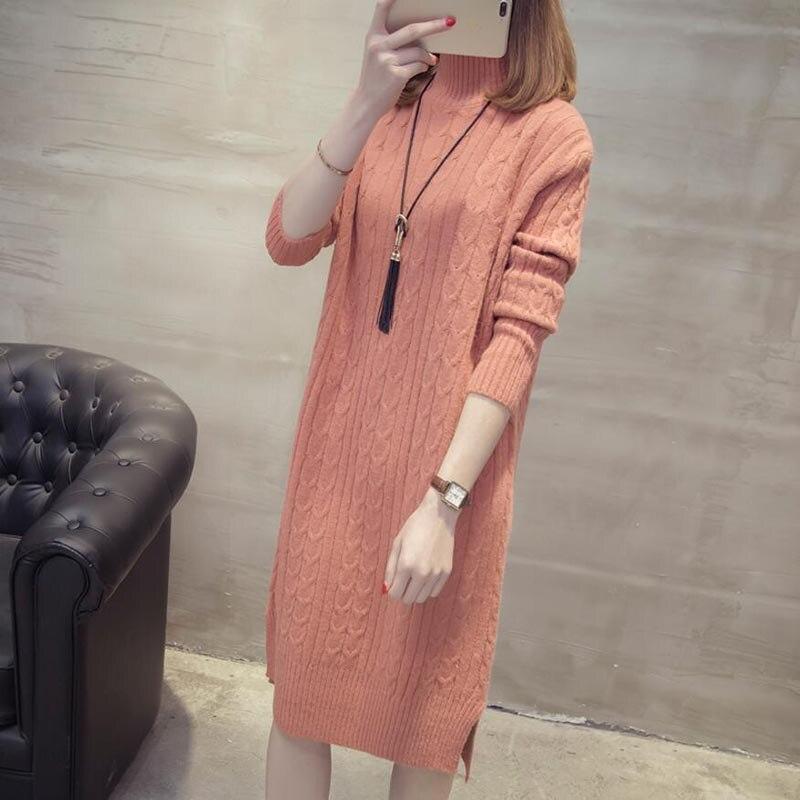 85a8d3102f3 ... Women Winter Knit Dresses 2018 Europe Long Sleeve Turtleneck Casual  Slim Warm Maxi Sweater Dress Plus ...