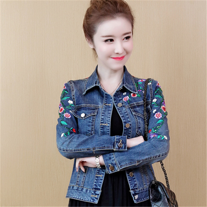 Women Floral Embroidery Short Denim   Jacket   Lady Elegant Single Breasted Slim Jeans Coat Spring Outwear   Basic   Denim   Jacket   5XL