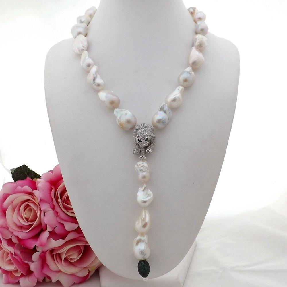 GE090612 21'' White Keshi Pearl Necklace Cz Pendant n121905 22 white keshi pearl necklace cz pendant
