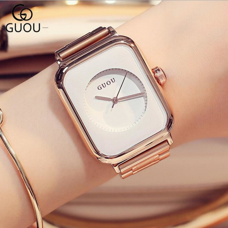 GUOU Brand Simple Fashion Watch Luxury Rose Gold Watch Women Watches Rectangle Clock saat montre femme relogio feminino relojes v6 fashion women s watches luxury rose gold ladies watch women watches clock saat montre femme relogio feminino reloj mujer