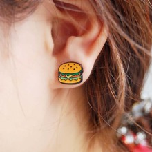 M1938 1pair korean harajuku earrings for women jewelry cute colorful enamel hamburger stud earings