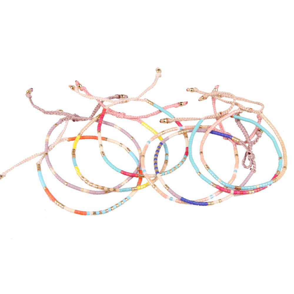 C.QUAN CHI Jewelry 8Pcs Boho Colorful Crystal Seed Beads Friendship Bracelets Adjustable Wove Braid Beaded Bracelets For Women friendship bracelets