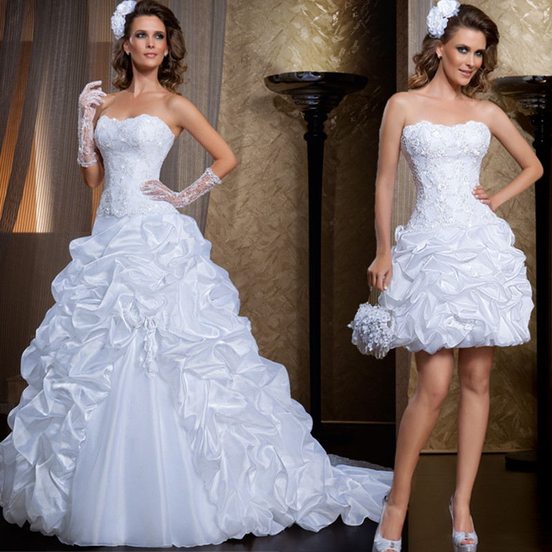 Removable Wedding Gown Dress: Sweetheart Organza Tiered Detachable Skirt Prom Gown