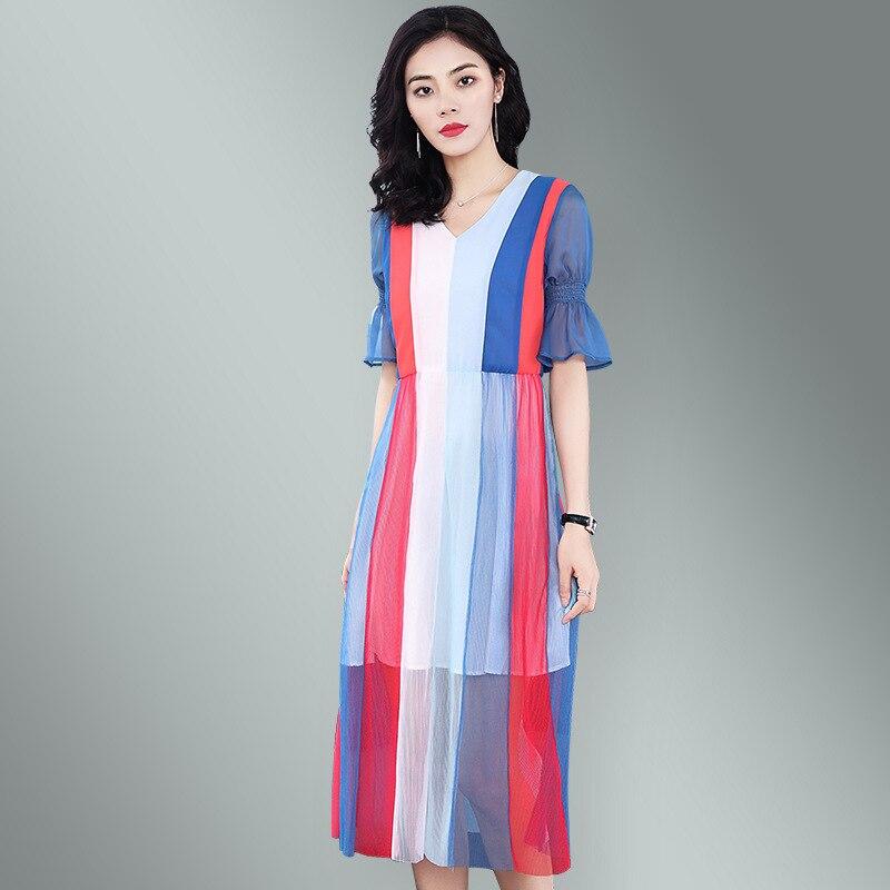 BURDULLY High Quality Summer Dress 2018 vestidos short sleeve Multi color Striped dress loose Chiffon Long Plus size dress femal