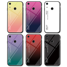 Gradient Tempered Glass Phone Case For Huawei Honor 8A Luxury Colorful Cover Shell Coque Capa Honor8a