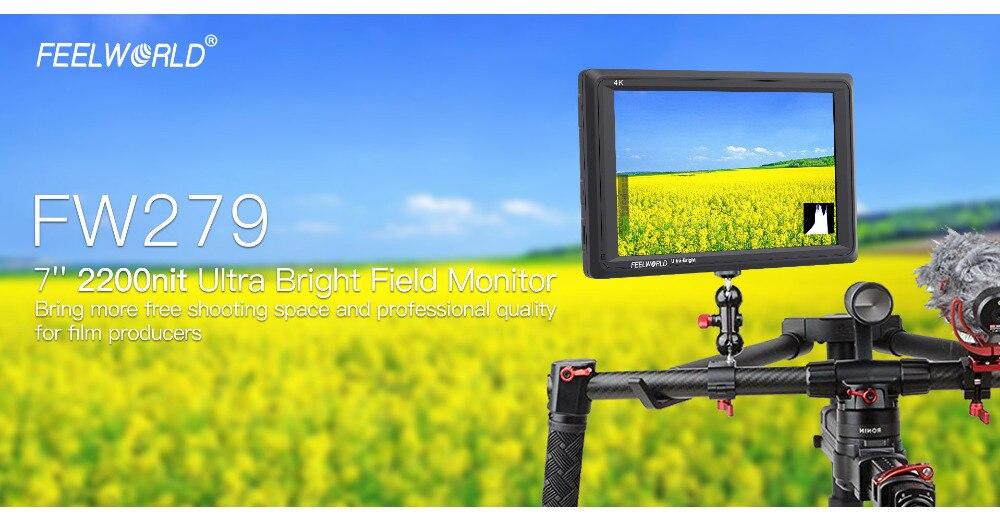 Feelworld FW279 7 Cal IPS 2200 nitów kamera Monitor zewnętrzny 4K HDMI wejście wyjście 1920X1200 Monitor LCD do DSLR stabilizator 2