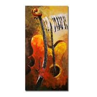 Hand Painted Colorful Oil Painting On Canvas Handmade Acrylic Abstract Guitar Paintings Palette Knife Modern Home