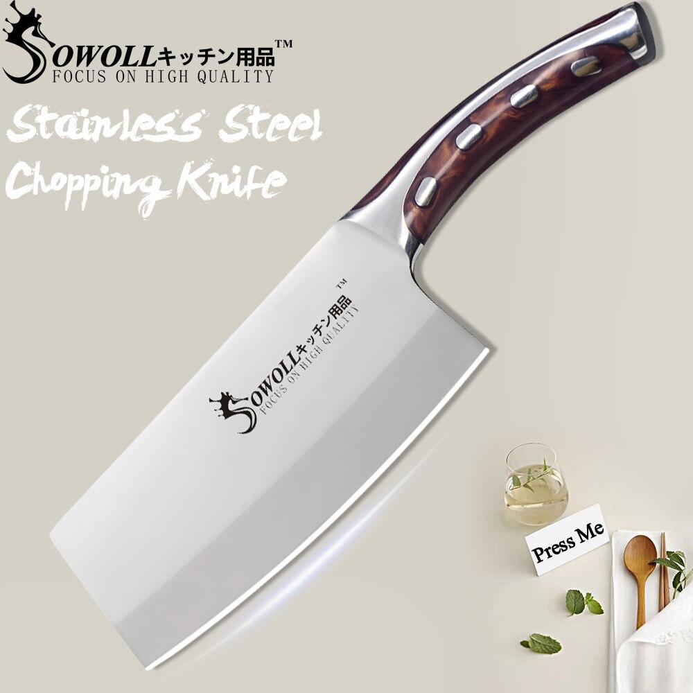 SOWOLL 4CR14 Edelstahl Küche Messer 7 zoll Hacken Messer Nicht-stick Kochen Zubehör Sehr Scharf und Langlebig Messer