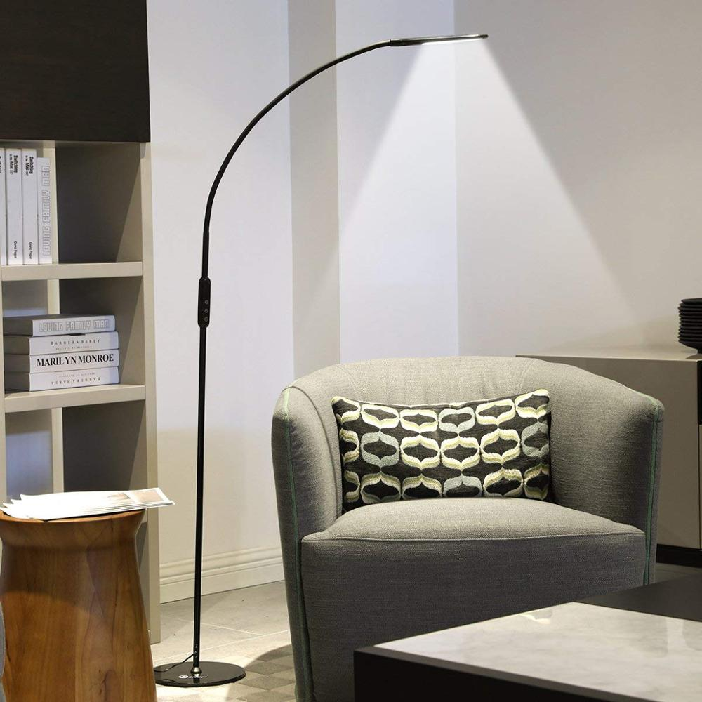 Remote Control LED Floor Lamp for Study Reading Paino Light 360 Degree Rotatable Arm Black White Living Room Bedroom Floor Light