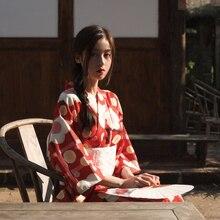 Red Printed Girl Robe Gown Vintage Kimono Yukata With Obi Traditional Japanese Lady Evening Dress Halloween Cosplay Costume