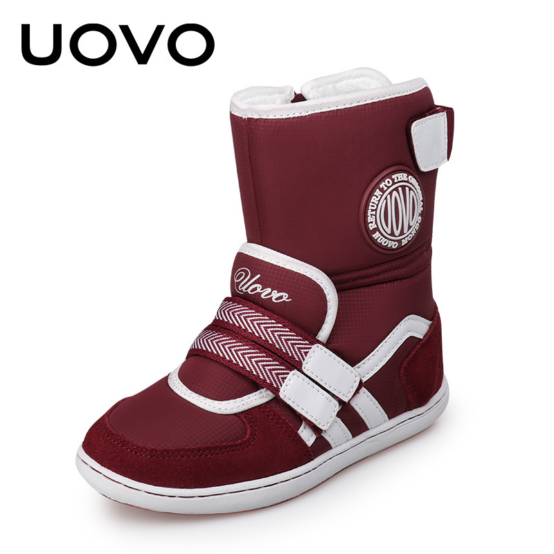 где купить Uovo Brand Boys Girls Winter Boots Ski Cloth and Suede Leather Warm Kids Shoes Children Slip-Resistant Boots Chaussure EU26-39 по лучшей цене