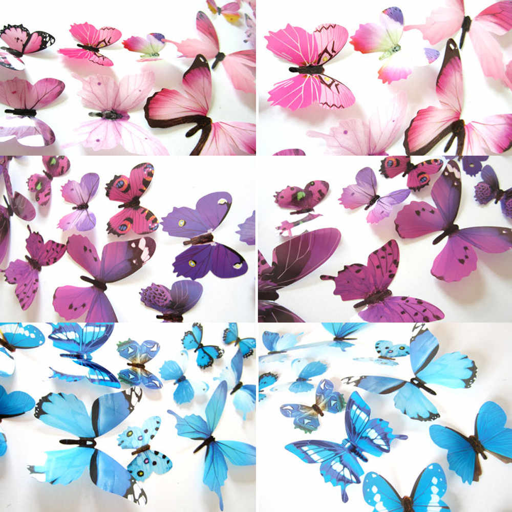 12pcs Decal Wall Stickers Home Decorations 3D Butterfly Rainbow sticked on most smooth and solid wall stickers наклейки на стену