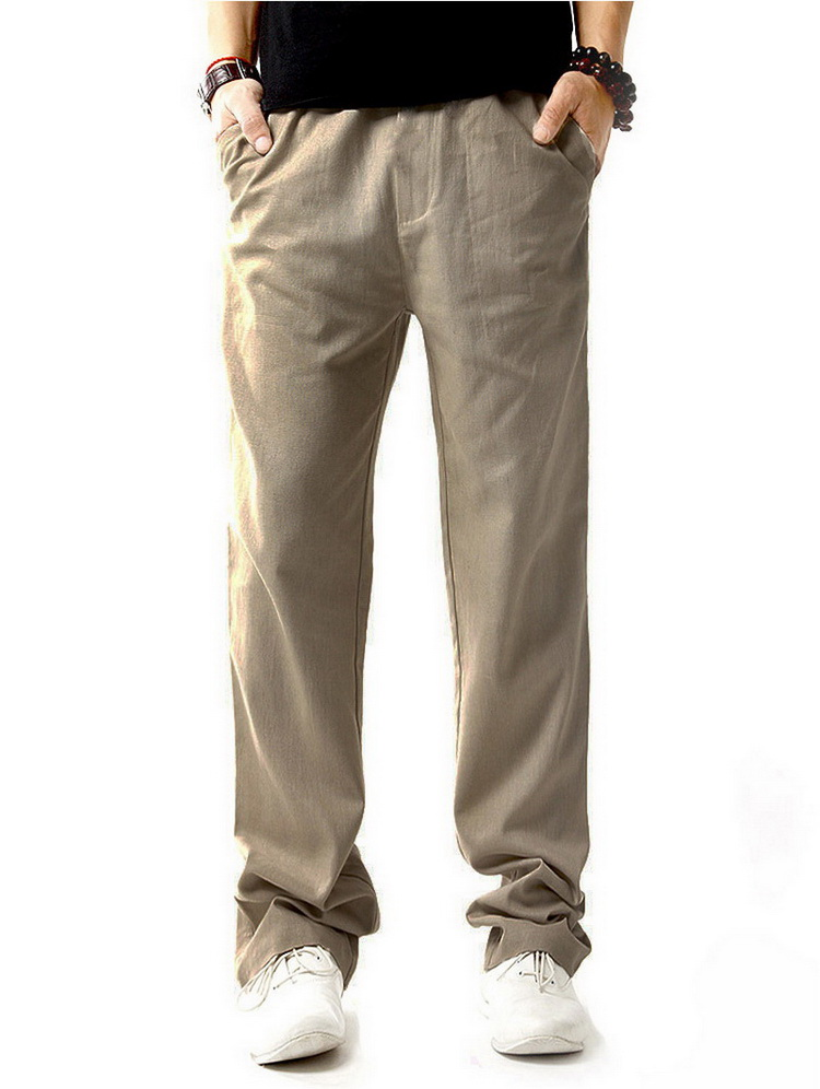 Pantalon hommes en lin et coton beige