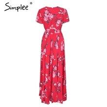 Simplee Floral print red long dress women Short sleeve v neck maxi dress 2018 Spring beach summer dress female vestidos