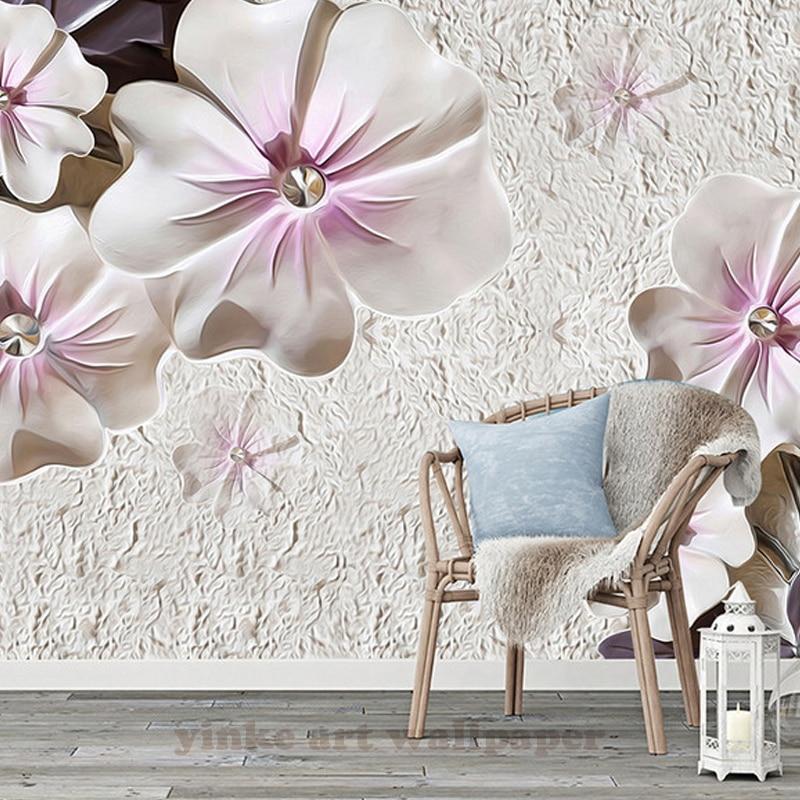 Kustom Perhiasan Embos Segitiga Bunga Estetika Wallpaper Mural 3d