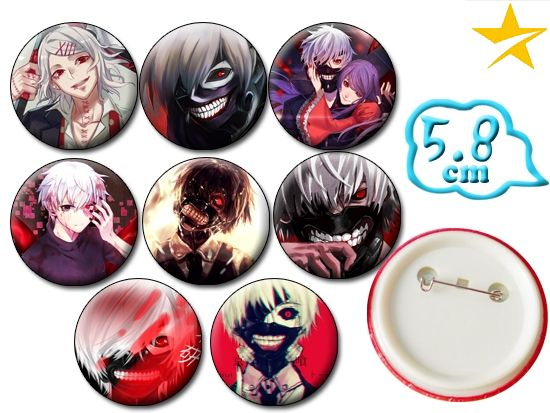Tokyo Ghoul Anime Badge Pins Set PVC Badges Brooch Pin Chest Button Cosplay Collection Gift