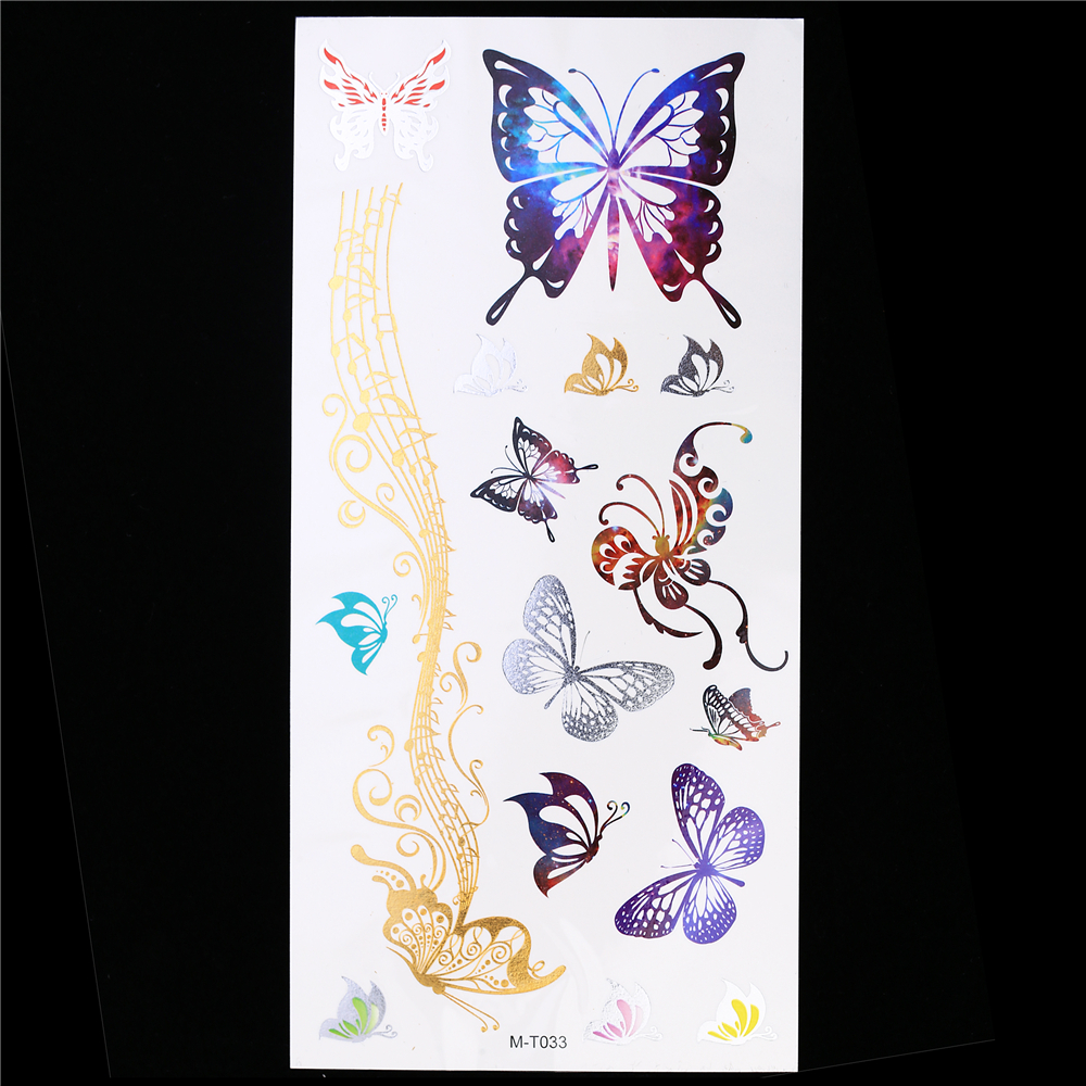 1 Sheet Metallic Gold Silver Tattoo Flash Waterproof Decal Beauty Butterfly Henna Temporary GM-T033 Tatoo for Women Body Art Hot