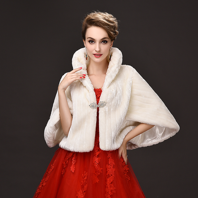 New Fashion  bride Small coat winter cloak bigger sizes loose garment Faux fur women shawl