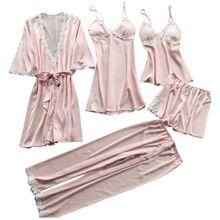 Kobiet Plus rozmiar lato sztuczny jedwab 5 kawałek piżamy dla dzieci zestaw szydełka kwiecista koronka aplikacja wykończeniowa bielizna nocna jednolity kolor koszula nocna Babydoll
