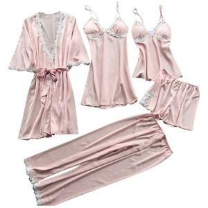 Image 1 - Womens Plus Size Summer Faux Silk 5 Piece Pajamas Set Crochet Floral Lace Applique Trim Sleepwear Solid Color Nightgown Babydoll