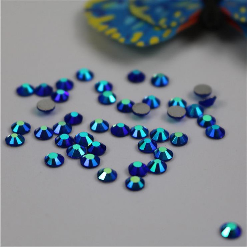 SS3-SS34 Blue Sapphire AB Non Hotfix Glass Crystal Flatback Rhinestones Nail Rhinestones For Nails 3D Nail Art Decoration Gems 1pack colorful mixed size nail art rhinestones shiny ab crystal non hotfix flatback glass 3d diy gems manicure nails decorations
