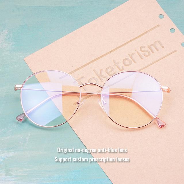 Vintage Rose Gold Metal Round Eye Glasses