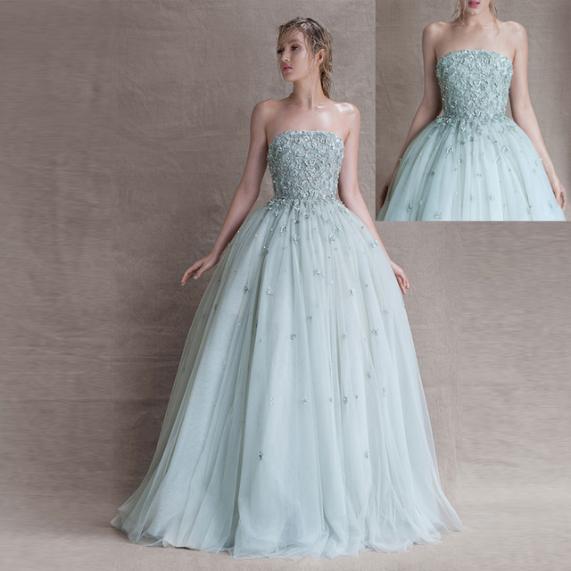 Ball Gown Mint Evening Dresses Tulle Appliques Beading Strapless ...
