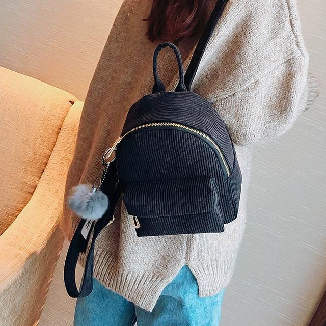 Cute velvet Backpack For Teenagers Children Mini Back Pack Kawaii Girls Kids Small Backpacks female Packbags Fur ball school bag (3)