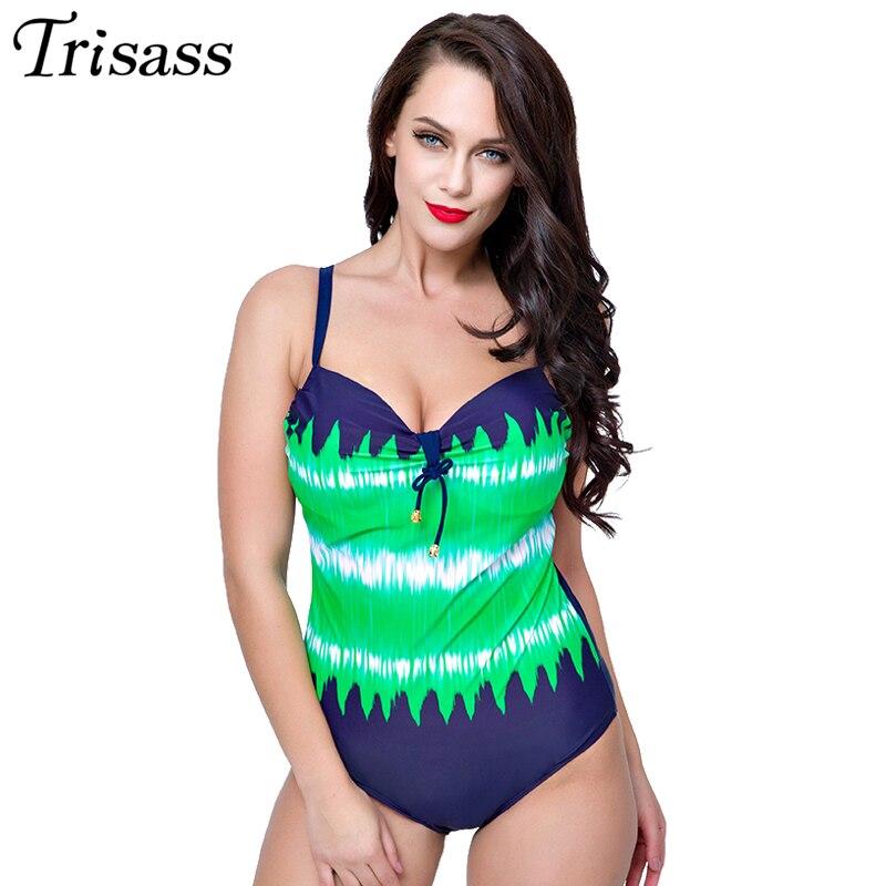 Trisass 2017 New Hot Sexy One-piece Swimsuit Swimwear Women Bikini Set Plus Size Skirtini Summer Beach Bathing Suit Print one piece swimsuit cheap sexy bathing suits may beach girls plus size swimwear 2017 new korean shiny lace halter badpakken