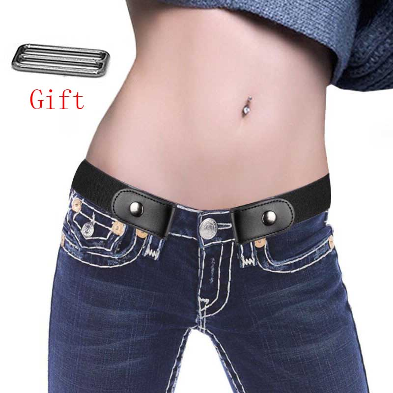 Jeans Without Buckle Belt Elastic Belt Women's Dress Elastic No Raised Elastic Waist Belt Without Buckle Strapless Jeans Belt(China)