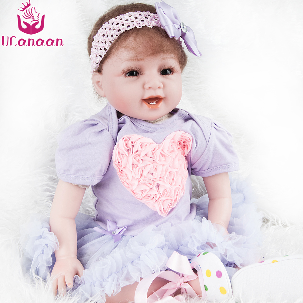 UCanaan 55CM Princess Doll Reborn Silicone Cloth Body Purple Dress Kawaii Toys For Children Baby Born Dolls For Girls Juguetes ucanaan 1 3 bjd sd doll beauty and the beast girls dolls with outfit dress wig makeup princess doll for children new year gifts