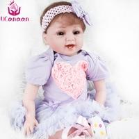 UCanaan 55CM Princess Doll Reborn Silicone Cloth Body Purple Dress Kawaii Toys For Children Baby Born Dolls For Girls Juguetes