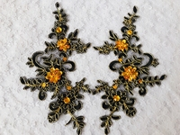 Handmade Black Sew On Crystal Patches Sequins Rhinestones Lace Applique 23 10cm For Top Dress Skirt