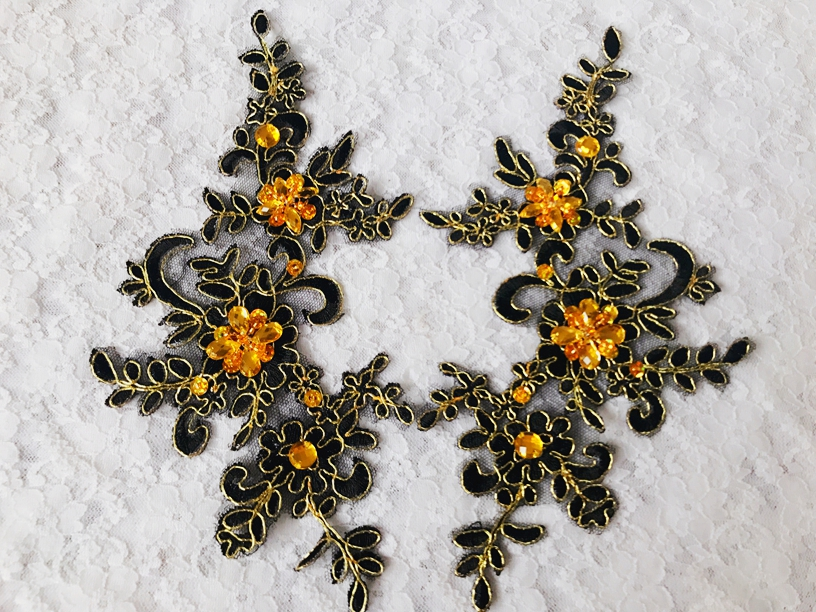New Handmade Sew on Crystal Black Patches Sequins Rhinestones Lace Trim Applique for Dress Skirt