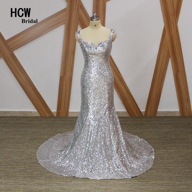 Bling Silver Mermaid вечерна рокля без презрамки Отворен назад Дължина на пода дълги вечерни рокли 2019 Евтини африкански рокли за парти