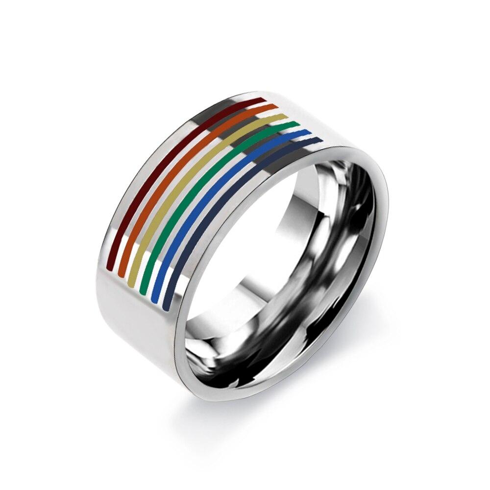 1 шт., модное Брендовое кольцо для мужчин и женщин, Радужное, цветное, ЛГБТ, из нержавеющей стали, для свадьбы, Lebian & Gay, кольца, бесплатная доставка
